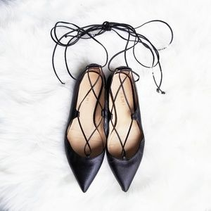 M. Gemi | Black Leather Lace Up Pointed Flats